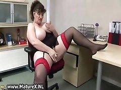 Horny ample mature lady fucks part1