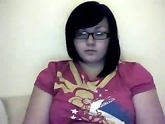 Tuk Buclatý Dospívající GF s brýlemi hrát s ji Chlupatý Kočička