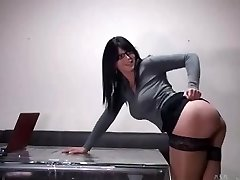 Hot secretary with glasses gets fucked