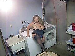 Hot Bbw in High-heeled Shoes and Lingerie Smoking Solo