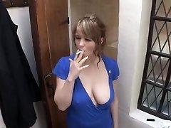 smoking girl down blouse big orb