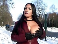 Leather Frost Flashing in Public - Blowjob Hj with Leather Gloves - Cum on my Tits