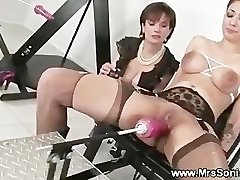 Gagged tart and her fucking machine
