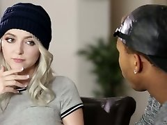 Naughty blond haired busty girl tempts her black neighbor for bi-racial lovemaking
