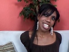 Hot black girl deepthroats cock on the couch and gets her throat cum jizzed