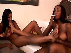 Black lesbians tease coochie and smoke cigs