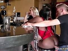 Diamond Jackson Casually Converses with Simone Sonay while the Bartender Fucks