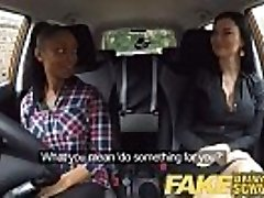 Fake Driving School big-titted black doll fails test with lesbian examiner