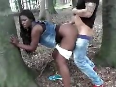 Dark-hued Wife Ravaged Outdoor By White Dick Cuckold Film