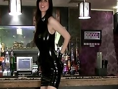 glorious brunette in black latex dress