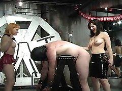 Hot mistresses spanking bonded fellow