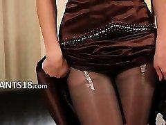 Black pantyhose and ultra hot pants