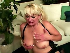 Blonde mature white gal in underwear loves to deep throat black dick