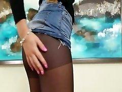 Black sexy pantyhose in hotel motel