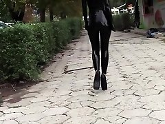 Ultra sexy goth doll wearing black lipstick in public