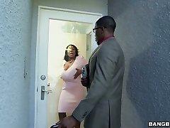 Super-fucking-hot dark-hued BBW Maseratti smashes horny black man on the white couch