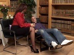 British slut Emma Butt gets fucked in black stockings