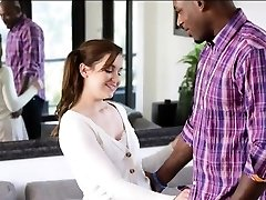 Beautiful teen girl Kasey Warner torn up by big black chisel