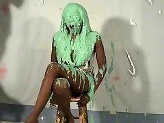 nice ebony girl pied and slimed
