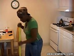 Ebony maid blackmails boss and demands him to lick her caboose