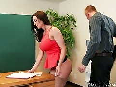 Nasty secretary with big cupcakes Kendra Lust fucked on the table by Richie Black