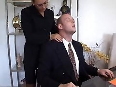 Secretary with dark ebony hair seduces her French boss