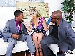 Blonde Secretary Julia Ann Blows Her Dark-hued Bosses