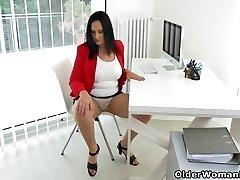 Cougar secretary Ria Dark-hued takes a break from accounting