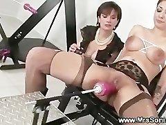Gagged slut and her nailing machine