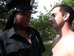 Ebony police officer female fucking white dick