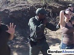 Latina gets boned by border guard black penis