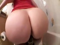 Phat Ass White Girl riding a big black dildo on toilet