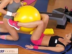 FitnessRooms Two Lesbian Gym counterparts workout and then make out