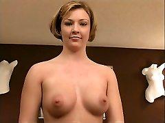 Randy blonde in dark-hued stockings  strip-teases on cam