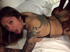 Scorching tattooed wifey takes black from behind!