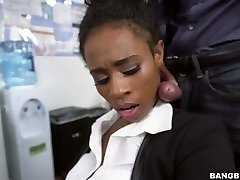 Dark-hued secretary Ivy Young fucked bad in the office