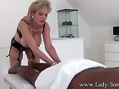 Dame Sonia black guy massage with happy ending