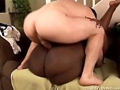 Beautiful busty black BBW Dynasty fucks a lucky white dude