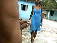 Busty Ebony Hard Blowjob in the backyard