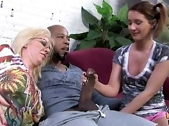 Dark-hued creampie for white mommy and daughter
