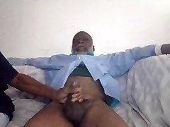 Black Grandapa dick deepthroated by girlfriend & mommy ghetto pussy