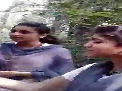 Desi Lesbo Femmes Smoking in Jungle
