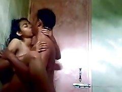 Indian Teen Plumbing in Public Shower
