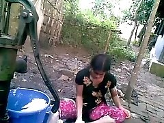 Bangla desi shameless village acquaintance-Nupur bathing outdoor