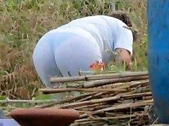 Spying Mom Butt - Chubby Plumper Granny - Mature Ass Rump