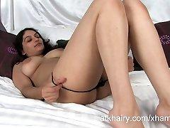 Super hairy Indian girl Rani masturbates