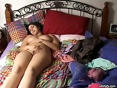 Lusty Indian babe with big inborn boobs fingers her beaver