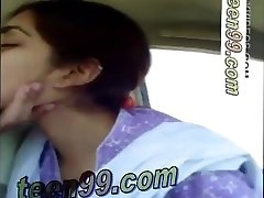 Indian couple kissing rock-hard in the car