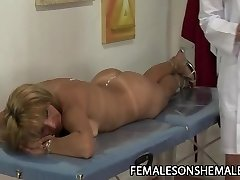 Blonde shemale ravages MILF pussy