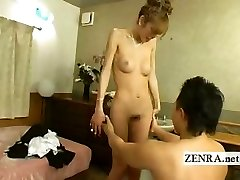 Japanese newhalf shemale is disrobed nude with blowjob
